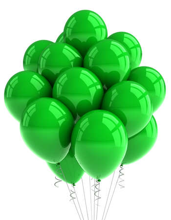 A bunch of green party balloons over white background