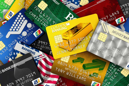 Different fake credit card spread out. All logos, banks and names are fake and are NOT real.
