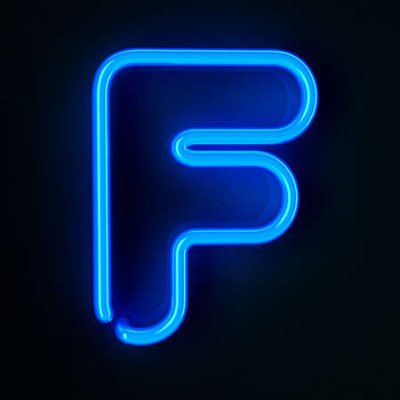 Highly detailed neon sign with the letter F