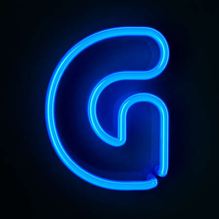 Highly detailed neon sign with the letter G