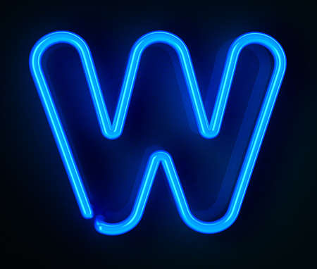 Highly detailed neon sign with the letter W