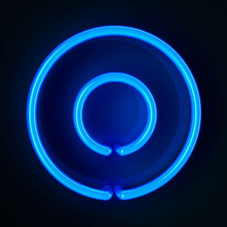 Highly detailed neon sign showing a zero