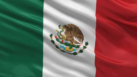 Flag of Mexico waving in the wind with highly detailed fabric texture