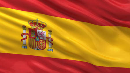 Flag of Spain waving in the wind with highly detailed fabric texture