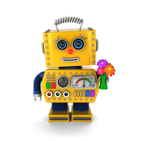 Yellow vintage toy with a flower bouquet sending a get well wish over white background