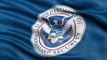 Flag of the Department of Homeland Security waving in the wind