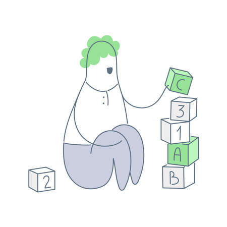 Man is sitting and playing with cubes, bricks building tower. Business tutor, Information architecture, game development and education concept. Clean outline white vector illustration.