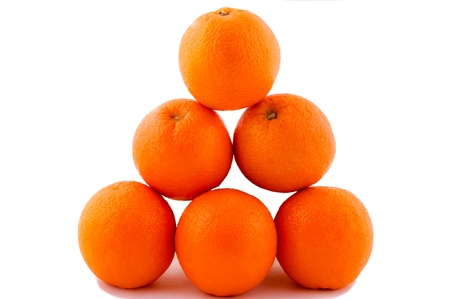 Oranges pyramide isolated on the white