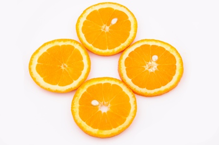 Oranges slices isolated on the white
