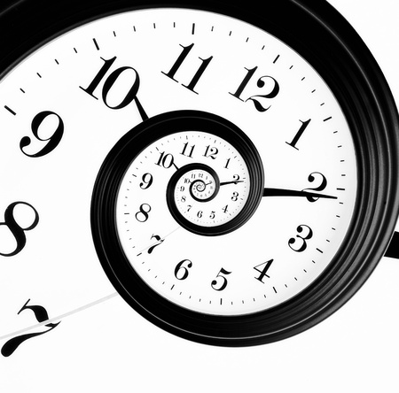 Black and white clock in droste effect