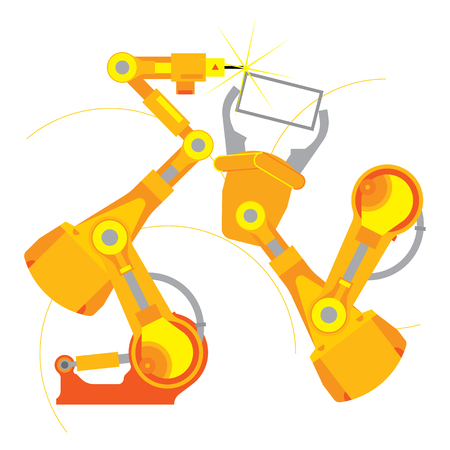 Robot industry technology and machine arm robot for manufacture, Robotic arm, flat illustration