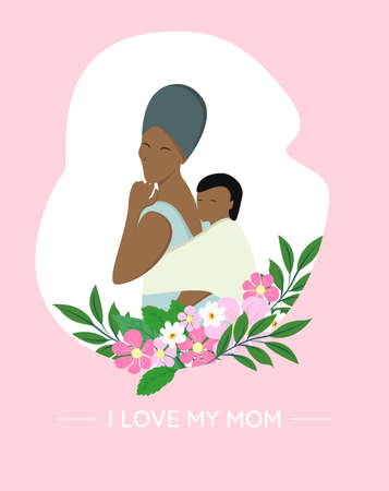 Illustration for African woman carrying her son on back. Happy mothers day vector illustration. African mothers and son with flowers - Royalty Free Image