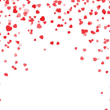 Illustration for Falling hearts confetti background. Vector illustration with a clipping mask. Valentines day confetti background. Red hearts petals falling on white background for Valentines Day - Royalty Free Image