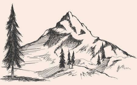 Illustration pour Hand drawn sketch of pine forest and mountains. Vector background - image libre de droit