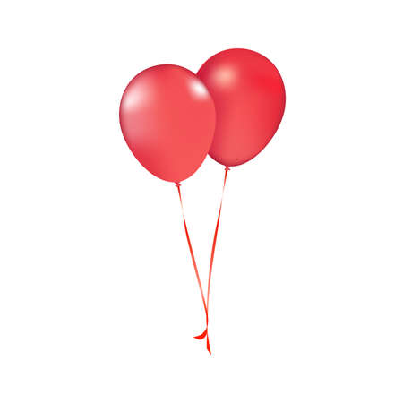Photo for Party vector balloons red birthday balloon modern holiday decoration balloons anniversary retirement graduation occasion life events greeting card. Joy positive abstract. Vector realistic red balloons - Royalty Free Image