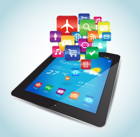 This vector image represents a Tablet with Apps icons