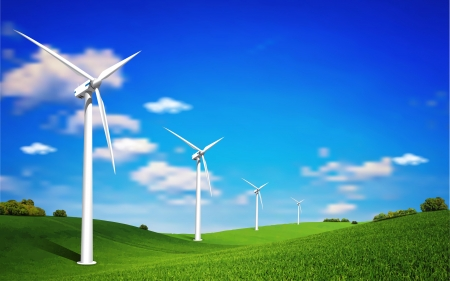 This image is a vector file represents a Wind Turbine landscape illustration
