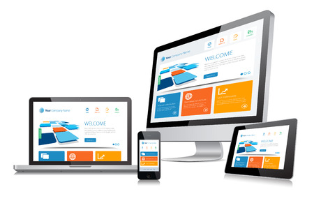 This image is a vector file representing a responsive design concept on various media devices.