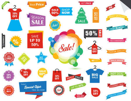 This image is a vector file representing a Sale Label Tag Sticker Banner collection set.