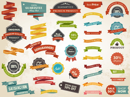 Vector illustration set of vintage label banner tag sticker badge vector design elements.