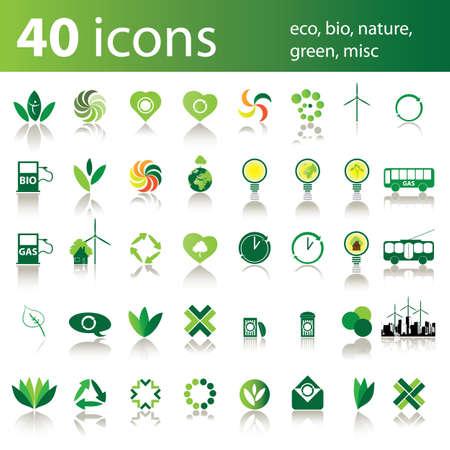 40 icons: eco, bio, nature, green, misc