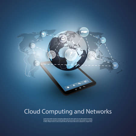 Global Networks, Cloud Computing - Illustration for Your Business