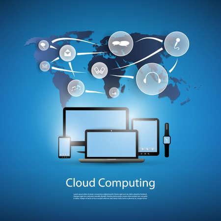 Illustration pour Cloud Computing Concept With Different Devices - image libre de droit