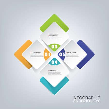 Illustration pour Colorful Minimal Paper Cut Infographics Design - Round Squares - image libre de droit