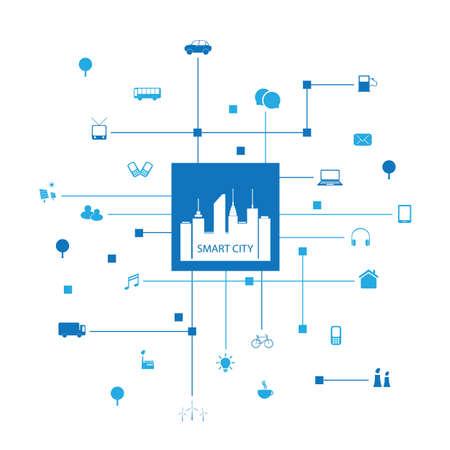 Illustration pour Smart City Design Concept with Icons - image libre de droit