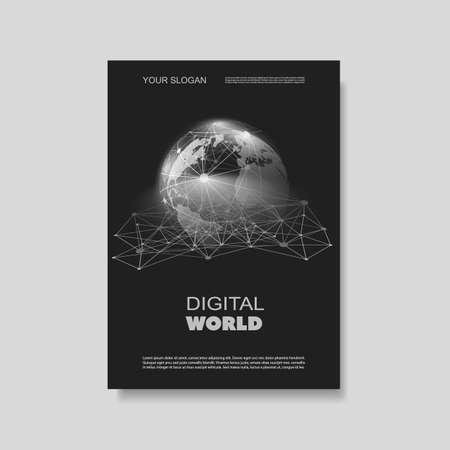 Illustration pour Flyer or Cover Design with Networks, Connections - Digital World - image libre de droit