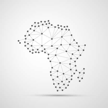 Illustration pour Transparent Abstract Polygonal Map of Africa, Digital Network Connections - image libre de droit