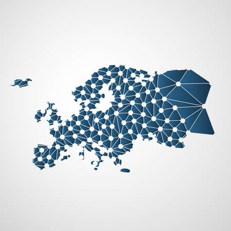 Illustration for Abstract Polygonal Map of Europe with Digital Network Connections - Minimal Modern Style Technology Background, Creative Design Vector Illustration Template - Royalty Free Image