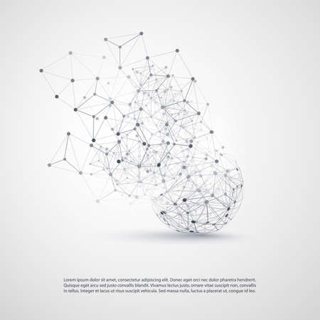 Illustration for Abstract Cloud Computing and Network Connections Concept Design with Transparent Geometric Mesh, Wireframe Sphere - Royalty Free Image
