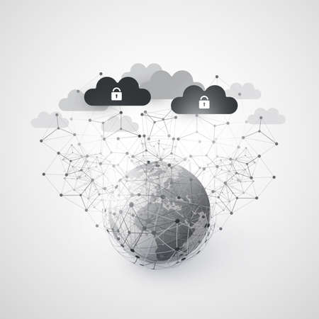 Abstract Cloud Computing and Global Network Connections Concept Design with Earth Globe and Transparent Geometric Mesh, Wireframe Sphere