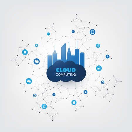 Illustration pour Cloud Computing Design Concept with Icons - Digital Network Connections, Technology Background - image libre de droit