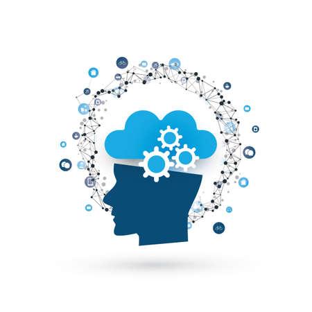 Illustration pour Machine Learning, Artificial Intelligence, Cloud Computing, Networks and Smart Technology Design Concept - image libre de droit