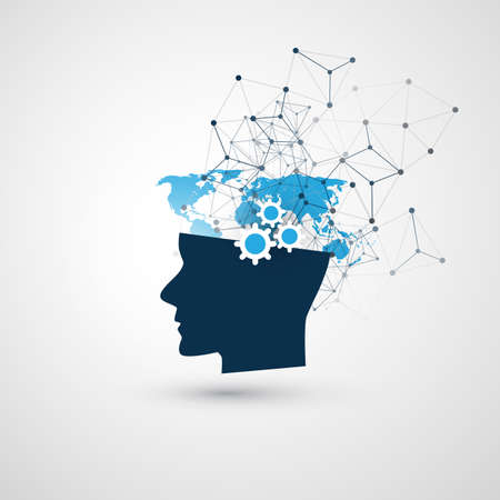 Illustration pour Machine Learning, Artificial Intelligence, Cloud Computing and Network Communication Concept with Human Head - image libre de droit