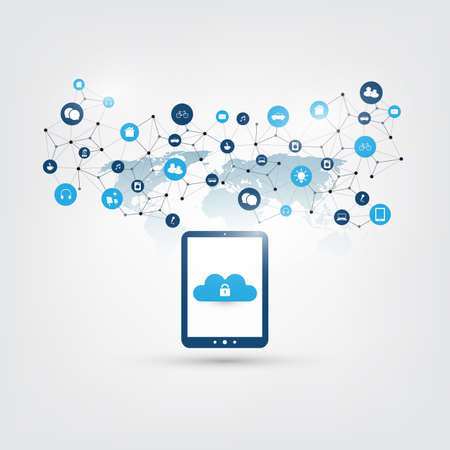 Ilustración de Cloud Computing Design Concept - Digital Network Connections, Technology Background - Imagen libre de derechos