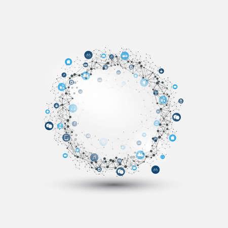 Illustration pour Internet of Things, Cloud Computing Design Concept with Icons - Digital Network Connections, Technology Background - image libre de droit