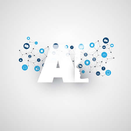 Illustration pour Artificial Intelligence, Internet of Things and Smart Technology Concept Design with AI Logo and Icons - image libre de droit