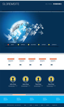 Illustration for Colorful Website Design for Your Business with Earth Globe - Royalty Free Image