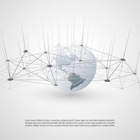 Illustration pour Cloud Computing and Networks Design - Global Digital Connections, Internet Concept Illustration - image libre de droit