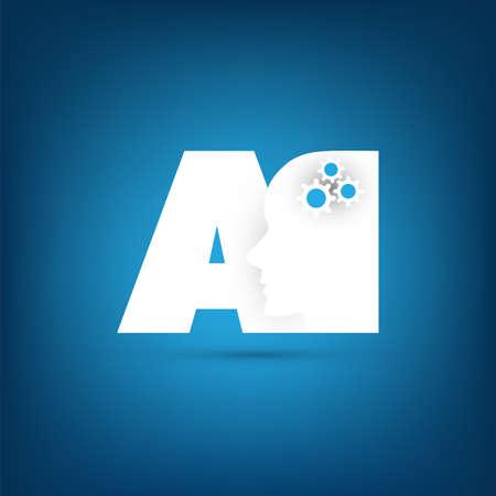 Illustration pour AI, Deep Learning and Future Technology Concept Design - image libre de droit