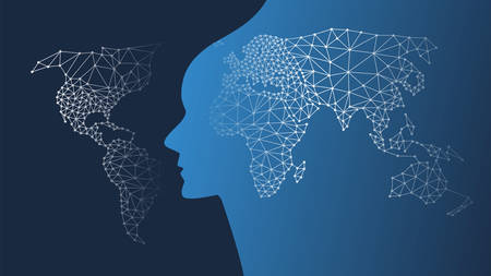 Illustration pour Machine Learning, Artificial Intelligence, Cloud Computing and Networks Design Concept with Geometric Mesh, Network Patterned World Map, Global Connections - image libre de droit