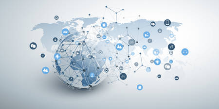 Illustration pour Internet of Things, Cloud Computing and Global Networks Concept Design with Earth Globe, Icons and Geometric Network Mesh - image libre de droit