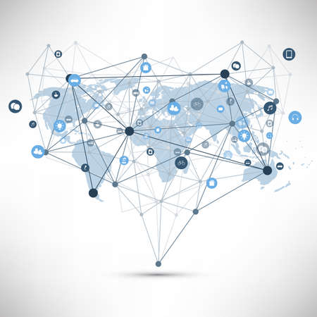 Photo pour Internet of Things, Cloud Computing Design Concept with Wireframe, World Map and Icons - Global Digital Network Connections, Smart Technology Concept - image libre de droit