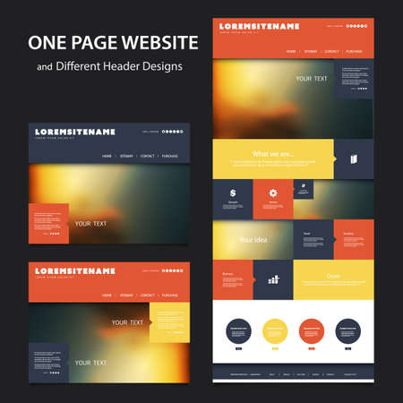 Illustration pour Colorful One Page Website Template - Various Header Designs with Blurred Backgrounds - image libre de droit
