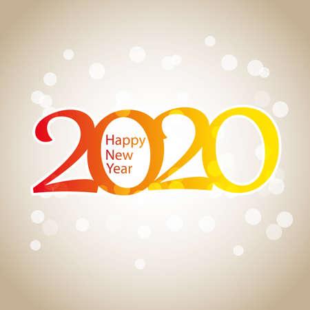 Illustration pour Sparkling Colorful New Year Card, Cover or Background Design Template - 2020 - image libre de droit