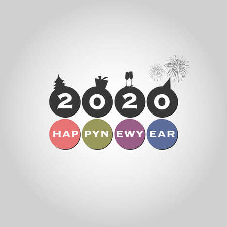 Illustration pour Best Wishes - Modern Simple Minimal Happy New Year Card or Cover Background Template - 2020 - image libre de droit