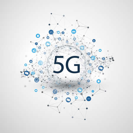 Illustration pour 5G Network Label with Wireframe Sphere, Mesh and Icons -Abstract  Futuristic High Speed, Broadband Mobile Telecommunication and Wireless Internet Design Concept - image libre de droit